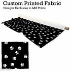 PAW PRINTS BLACK BG DESIGN FABRIC LYCRA SPANDEX ALOBA POLYESTER SATIN L&S PRINTS