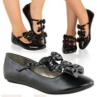 LADIES WOMENS BLACK PATENT BOW SCHOOL WORK BALLERINA SLIPPER FLAT SHOES