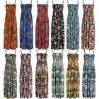 LADIES WOMENS MAXI DRESS LONG STRETCH SUMMER SLEEVELESS ADJUSTABLE STRAP SIZE