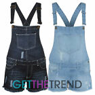 WOMENS LADIES DENIM STYLE DUNGAREE SHORTS JUMPSUIT DUNGAREES SIZE 8 10 12 14 16