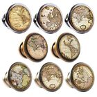 Zinc Alloy Knobs Antique Maps 30mm Cupboard Drawer Door Handles Decorated