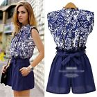 Summer Women Peplum Vintage Print Tops Shirt Blouse Shorts Pants Two Piece Set