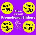 41mm Starburst Sale / Promotional Display Price Stickers Labels Buy 2 For £5 etc