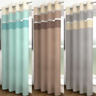 HENLEY VOILE PANEL - STRIPED CURTAINS - RING TOP / EYELET WINDOW HANGING