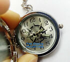 Fashion Vintage Silver Skull Large Numbers Quartz Movement Pocket Watch Necklace