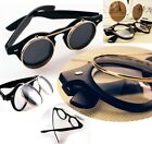 Newest Unisex Steampunk Goth Goggles Glasses Retro Flip Up Round Sunglasses - LD