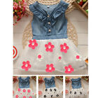 Baby Girls Floral Denim Dress Kids Beach/ Summer/ Princess/ Flower Dress 1-4Y