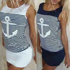 1PC Summer Women Casual Sleeveless Round Neck Anchors Striped Dress Reliable