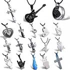 Black STAINLESS STEEL charm fashion Lord Men cross pendant leather necklace Gift