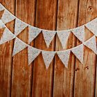 3.2M 12flags White Blue Lace Fabric Wedding Bunting Party Show Decor Garland