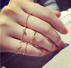 Rings Urban 5Pcs Stack Crystal Cute Above Knuckle Band Midi Ring Set Gold/Silver