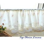Country Style French Provincial Home Kitchen Embroidered Rose Sheer Cafe Curtain