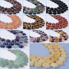 "15mm Carved gemstone flower loose beads 17"" *lot of choices*"