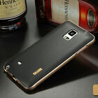 Aluminum Metal Frame+Soft TPU Leather Back Case Cover For Samsung Galaxy Note 4。