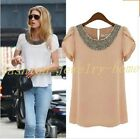 Fashion Women Chiffon Short Sleeve T Shirt Casual Tops Ladies' Beads Blouse