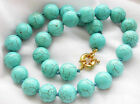 Handmade 8/10/12/14/16MM Natural Blue Turquoise Round Beads Gems Necklace 18''