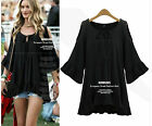 lady's cotton short Sleeve Shirt loose Tops Blouse Shirt Mini dress Plus size