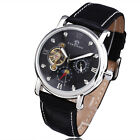 New Black Leather Band Steel Case Mechanical Automatic Date Man's Day Mens Watch