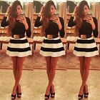 Womens Casual Cocktail Clubwear Party Skater Black White Stripe Mini Dresses #LD