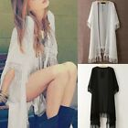 Ladies Lace Floral Tassel Long Chiffon Beach Cardigan Sunscreen Outwear Kimono