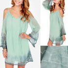 Sexy Women Casual Straps Loose Evening Cocktail Short Mini Dress Green Summer
