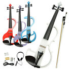New 4 Color Bright Sound 4/4 Electric Silent Violin+Rosin+Bow+Case for Beginner