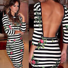 1PC Sexy Womens Three Quarter Sleeve Striped Hollow Out Backless Dress Reliable