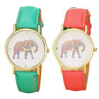 New Women Elephant Printing Pattern Weaved Leather Quartz Dial Watch Stylish