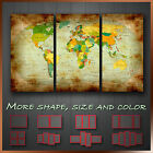 Vintage World Map Abstract Modern Contemporary Wall Art Canvas ~ 3pc More Size