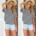 Womens Short Sleeve Loose Black White T Shirt Summer Casual Tops Blouse S-XL