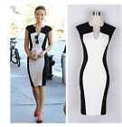 New! Women Celeb V neck Contrast Bodycon Cocktail Party Evening Pencil Dress -LD