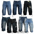 Mens Denim Jeans Shorts Crosshatch Combat Casual Cargo 3/4 Shorts with Pockets