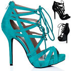 WOMENS HEELED LACE UP ZIP PEEP TOE PLATFORM SUEDE STYLE SANDAL SHOES SIZE 3 - 8