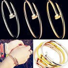 Casual Women Creative Design Stainless Steel Cuff Bangle Screw Nail Bracelet Hot