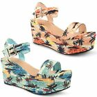 Ladies Dolcis High Heel Platform Womens Peep Toe Ankle Strap Wedge Sandals Shoes