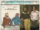 4759 Vintage McCalls Sewing Pattern Mens Buttoned Front Shirt Western Style OOP