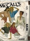 6536 Vintage McCalls Sewing Pattern Misses Buttoned Blouses Gathered into Yoke