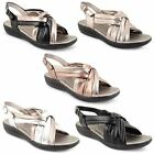 Womens Ladies Summer Sandals Strappy Flat Low Heel Wedges Open Toe Shoes Size