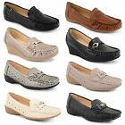 Womens Ladies Low Mid Heel Wedge Loafers Pumps Office Work Moccasin Shoes Size