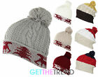 Womens Stripe Reindeer Knitted Winter Bobble Beanie Hat Ladies Slouch Turn Up