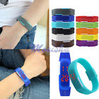 Ultra Thin Womens Mens Silicone Digital LED Sports Touch Bracelet Wrist Watch