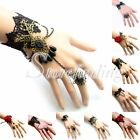 Women Lace Retro Vintage Crystal Beads Adjustable Bracelet & Ring Set For Ladies