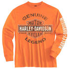 Harley-Davidson Big Boys' Tee, Long Sleeve Genuine Legend, Orange 1590507 $19.95 USD on eBay