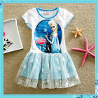 KIDS FROZEN ELSA ANNA Princess Party Outfit Girls Tutu Dresses SIZE 3-4-5-6-7-8T