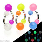 SEXY 6 COLOR LOT OF SURGICAL STEEL GLOW IN THE DARK NAVEL BELLY RINGS PIERCING