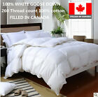 100% Cotton WHITE GOOSE DOWN DUVET COMFORTER  FILLED IN CANADA