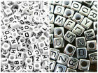 500 x Acrylic CUBE Alphabet Beads White 6mm or  Silver 6mm (500pcs) BOGOF OFFER