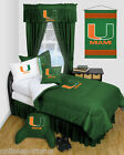 Miami Hurricanes Comforter Sham Bedskirt Twin Full Queen Size