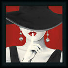 Haute Chapeau Rouge I Glamorous Woman Red Lipstick Framed Art Print Wall Artwork