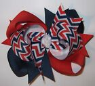 Large 5 inch Patriotic Triple Loop JULY 4TH Hair Bow Navy Blue Red White Chevron